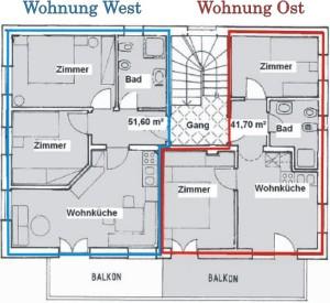 Grundriss West- und Ostwohnung