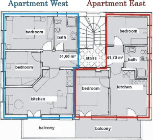 Floor plan oft west and east appartment